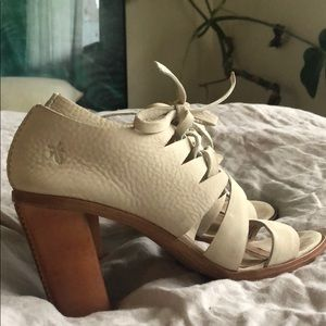 Frye Cream Lace up Leather Heels